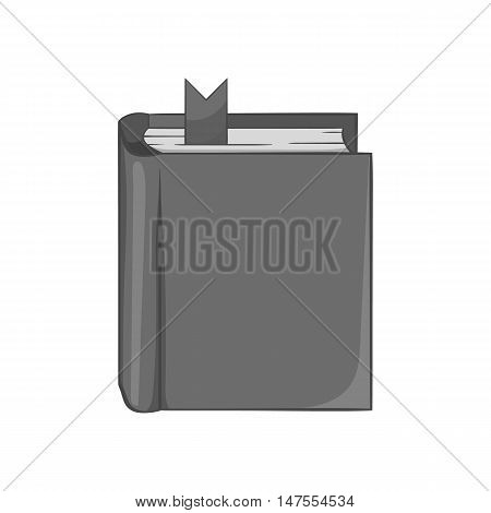 Thick book with bookmark icon in black monochrome style isolated on white background. Reading symbol vector illustration