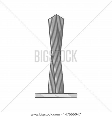 Emirates tower icon in black monochrome style isolated on white background. Buildings symbol vector illustration