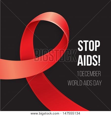 World Aids Day. Red Awareness. Realistic ribbon on black background. Corner composition for postcard poster or web banner.