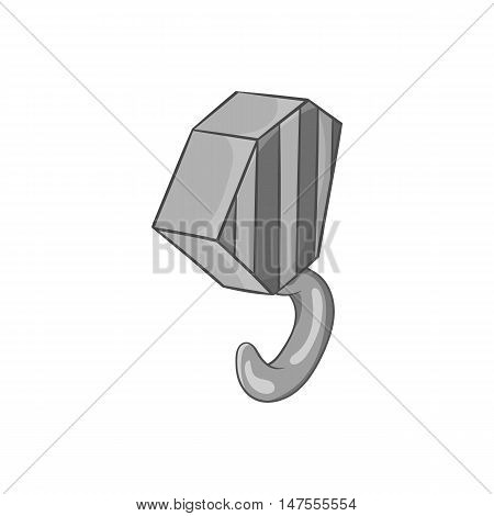 Hook from crane icon in black monochrome style isolated on white background. Equipment symbol vector illustration