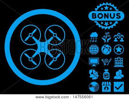 Copter icon with bonus design elements. Vector illustration style is flat iconic symbols, blue color, black background.