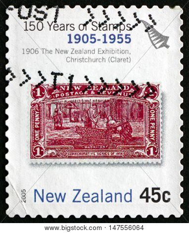 NEW ZEALAND - CIRCA 2005: a stamp printed in New Zealand shows Maori Art the New Zealand Exhibition Christchurch Stamp from 1906 circa 2005