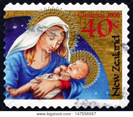 NEW ZEALAND - CIRCA 2000: a stamp printed in New Zealand shows Madonna and Child Christmas circa 2000