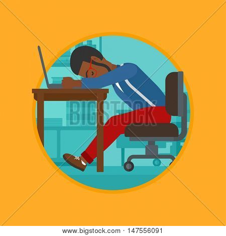 An african-american tired employee sleeping at workplace on laptop keyboard. Overworked young businessman resting at workplace. Vector flat design illustration in the circle isolated on background.