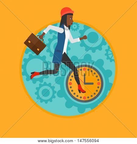 An african business woman with briefcase running on a background of clock. Business woman in a hurry. Concept of stress in business.Vector flat design illustration in the circle isolated on background