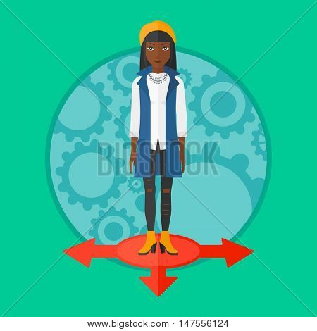 An african-american smiling woman standing on three alternative ways. Young woman choosing carrer way. Concept of career choice. Vector flat design illustration in the circle isolated on background.