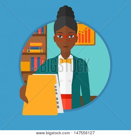 An african-american woman giving a resume in the office. Woman giving to the employer her curriculum vitae. Job interview concept. Vector flat design illustration in the circle isolated on background.