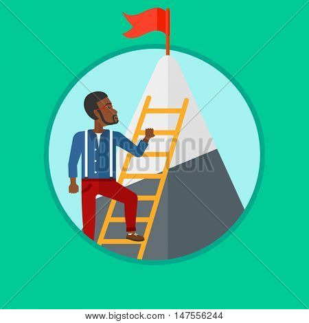 An african-american businessman climbing the ladder to get the red flag on the top of mountain. Concept of business goal, career. Vector flat design illustration in the circle isolated on background.