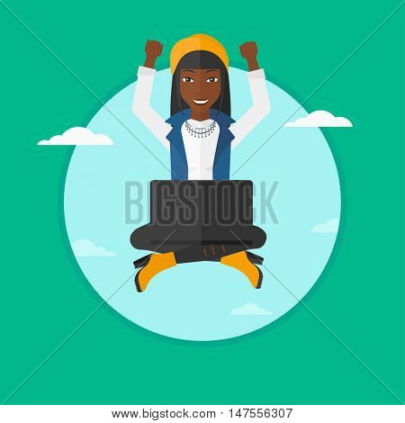 An african-american successful business woman with raised hands sitting on a cloud with a laptop. Concept of online business. Vector flat design illustration in the circle isolated on background.