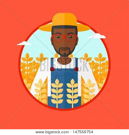 An african-american farmer in summer hat standing in a wheat field. An african-american smiling man working in a wheat field. Vector flat design illustration in the circle isolated on background.