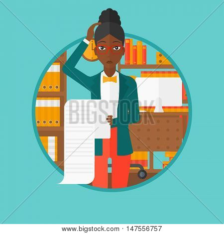 An african-american worried business woman holding a long bill in office and clutching her head. Concept of business bankruptcy. Vector flat design illustration in the circle isolated on background.
