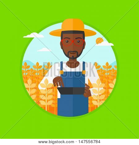 An african-american farmer in summer hat checking plants in a wheat field. Farmer working on a digital tablet in a wheat field. Vector flat design illustration in the circle isolated on background.