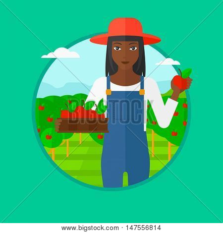 An african-american woman standing in the garden and holding a crate full of apples in hands. Female farmer collecting apples. Vector flat design illustration in the circle isolated on background.