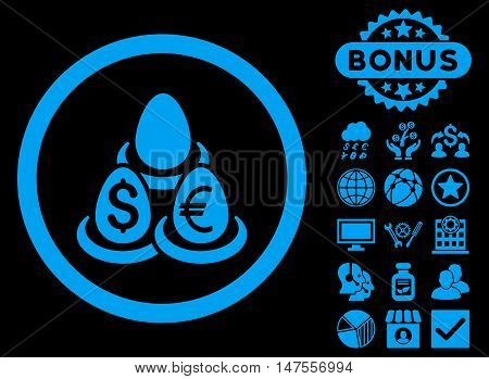Currency Deposit Diversification icon with bonus pictures. Vector illustration style is flat iconic symbols, blue color, black background.