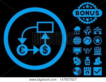 Currency Flow Chart icon with bonus symbols. Vector illustration style is flat iconic symbols, blue color, black background.