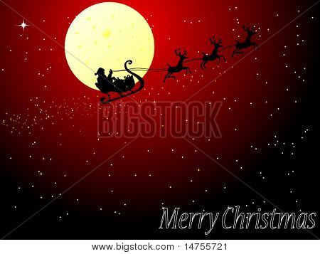 santa sleigh christmas card