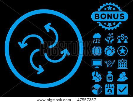 Cyclone Arrows icon with bonus elements. Vector illustration style is flat iconic symbols, blue color, black background.