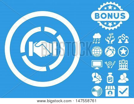 Acquisition Diagram icon with bonus elements. Vector illustration style is flat iconic symbols, white color, blue background.