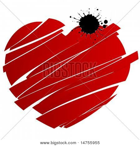 red heart splashed and broken