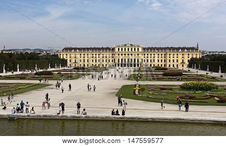 VIENNA, AUSTRIA - September 3, 2016: View of the baroque Schonbrunn Palace a former imperial summer residence located in Vienna Austria.