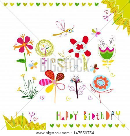 Happy Birthday. Set multicolored abstract flowers. A flower bed with flowers, butterflies and dragonfly. Cute birthday card for kids and adults.