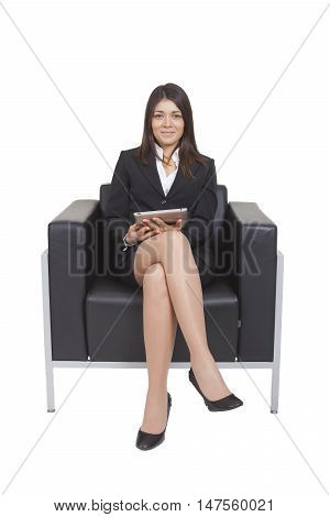 Businesswoman Sitting Looking Tablet