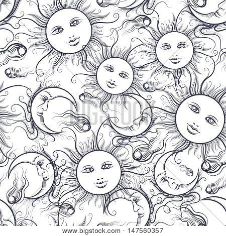 Pajamas style seamless pattern vector illustration. Seamless texture with ornamental moon and sun