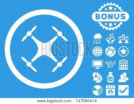 Airdrone icon with bonus pictures. Vector illustration style is flat iconic symbols, white color, blue background.