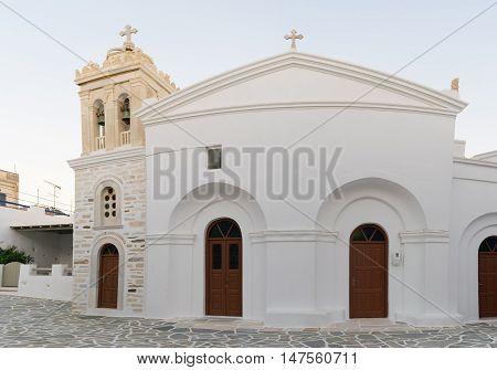Marpissa's local church panoramic view at Paros island in Greece.