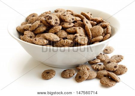 Bowl Of Chocolate Chip Cookies Cereal Isolated On White. Spilled Cookies.