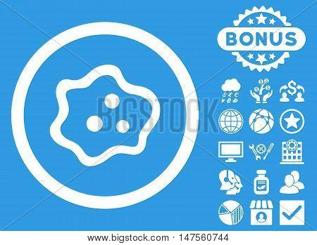 Amoeba icon with bonus images. Vector illustration style is flat iconic symbols, white color, blue background.