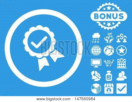 Approved icon with bonus elements. Vector illustration style is flat iconic symbols, white color, blue background.