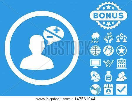 Arguments icon with bonus images. Vector illustration style is flat iconic symbols, white color, blue background.