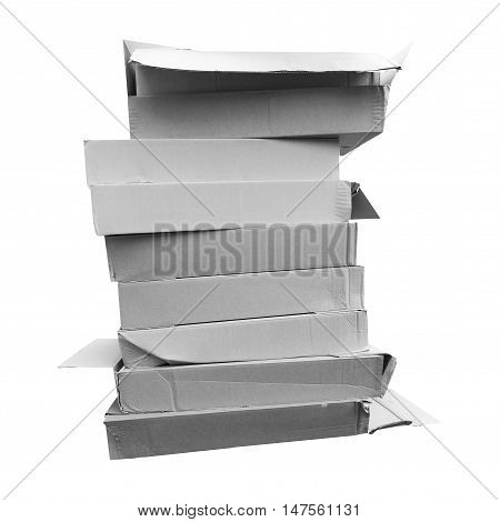Pile Of Cardboard Boxex In Black And White