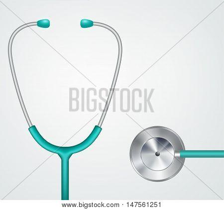 Medical stethoscope phonendoscope equipment on light background.