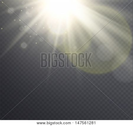 Abstract golden sun flare with rays transparent light effect on transparent background. .