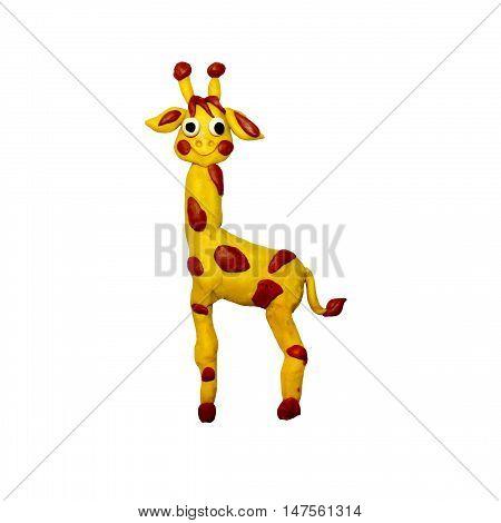 Plasticine  African baby giraffe sculpture isolated on white
