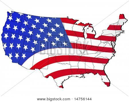 United States, US map and flag illustration