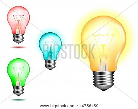 light bulb in various colors illustrated