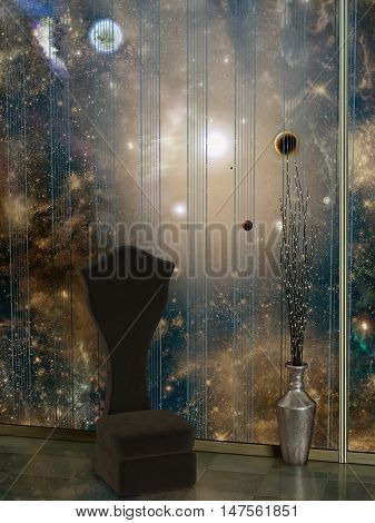 room in the space with planet and leds