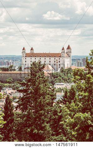 Bratislava castle in capital city of Slovak republic. Retro photo filter.