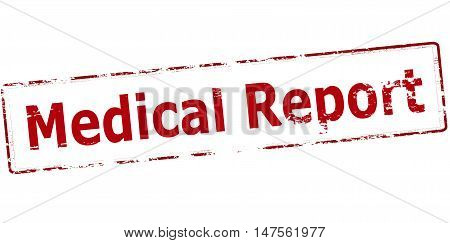 Rubber stamp with text medical report inside vector illustration
