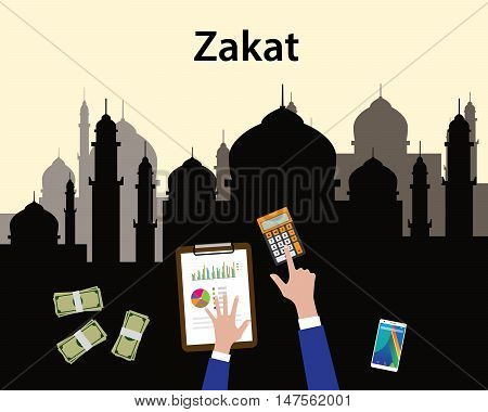 zakat concept moslem islam count counting money with hand view from top with mosque as background vector