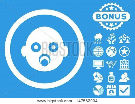 Baby Head icon with bonus pictures. Vector illustration style is flat iconic symbols, white color, blue background.