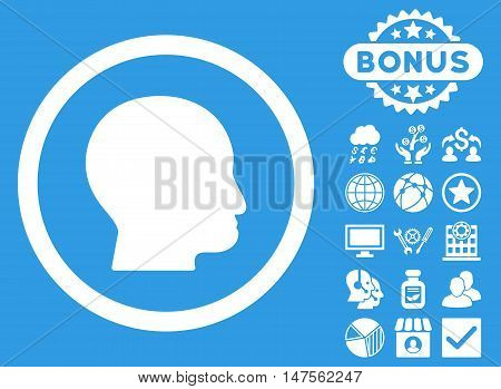 Bald Head icon with bonus pictures. Vector illustration style is flat iconic symbols, white color, blue background.