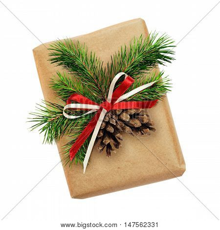 Christmas gift box with ribbon bow fir-tree twig and cones isolated on white