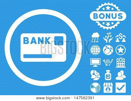 Bank Card icon with bonus pictures. Vector illustration style is flat iconic symbols, white color, blue background.