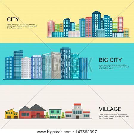 Urban and village landscape. Big modern city rural village.
