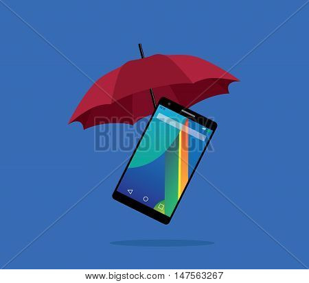 smartphone protection insurance with red umbrella and blue background vector