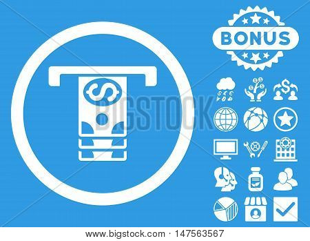 Banknotes Withdraw icon with bonus images. Vector illustration style is flat iconic symbols, white color, blue background.